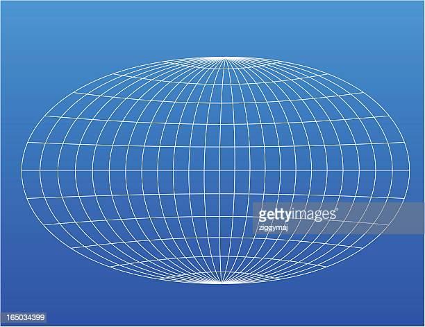 Wire globe design on a blue background