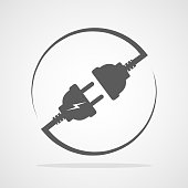 Wire, plug and socket. Vector illustration.