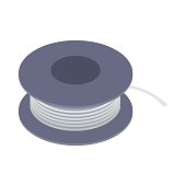 Wire spool icon, isometric 3d style