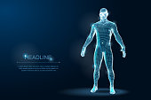 Wireframe 3D Man Body Geometry with dots and stars on dark background. Vector Illustration
