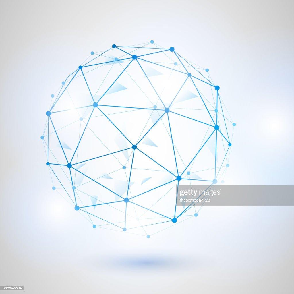 wireframe 3d polygonalen vektor netzkugel netzwerkleitung design