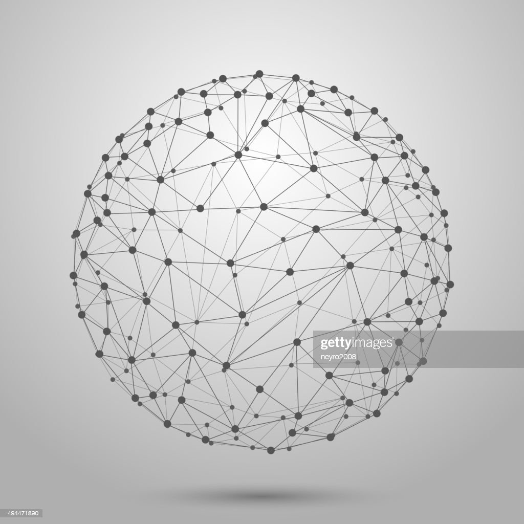 Wireframe 3D mesh polygonal vector sphere