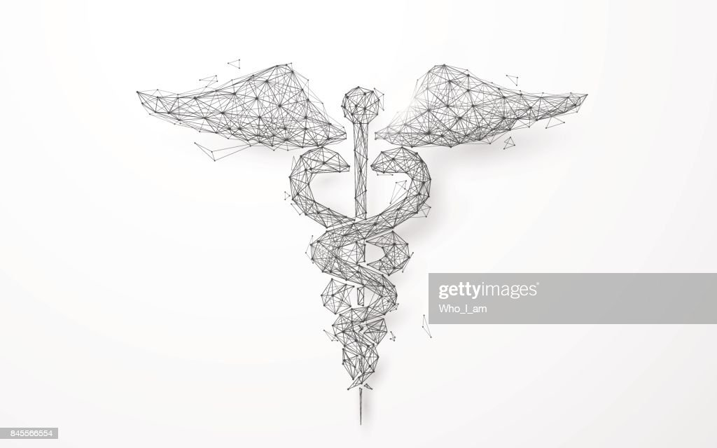 Wireframe caduceus medical symbol mesh from a starry background
