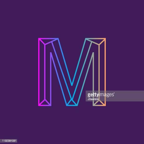 wireframe capital letter outline bevelled 3d alphabet design - letter m stock illustrations, clip art, cartoons, & icons