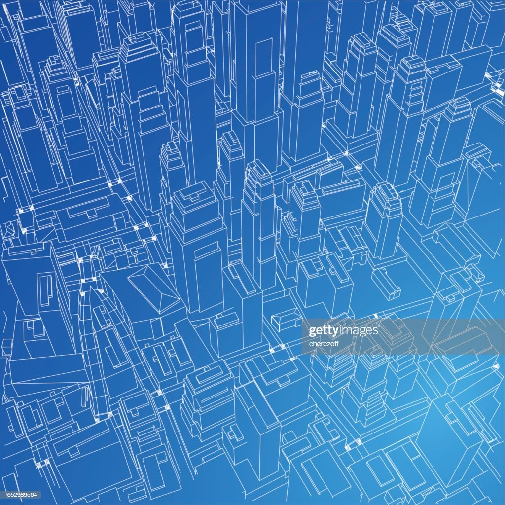 Wireframe city blueprint style 3d rendering vector illustration wire frame city blueprint style 3d rendering vector illustration vector art malvernweather Gallery