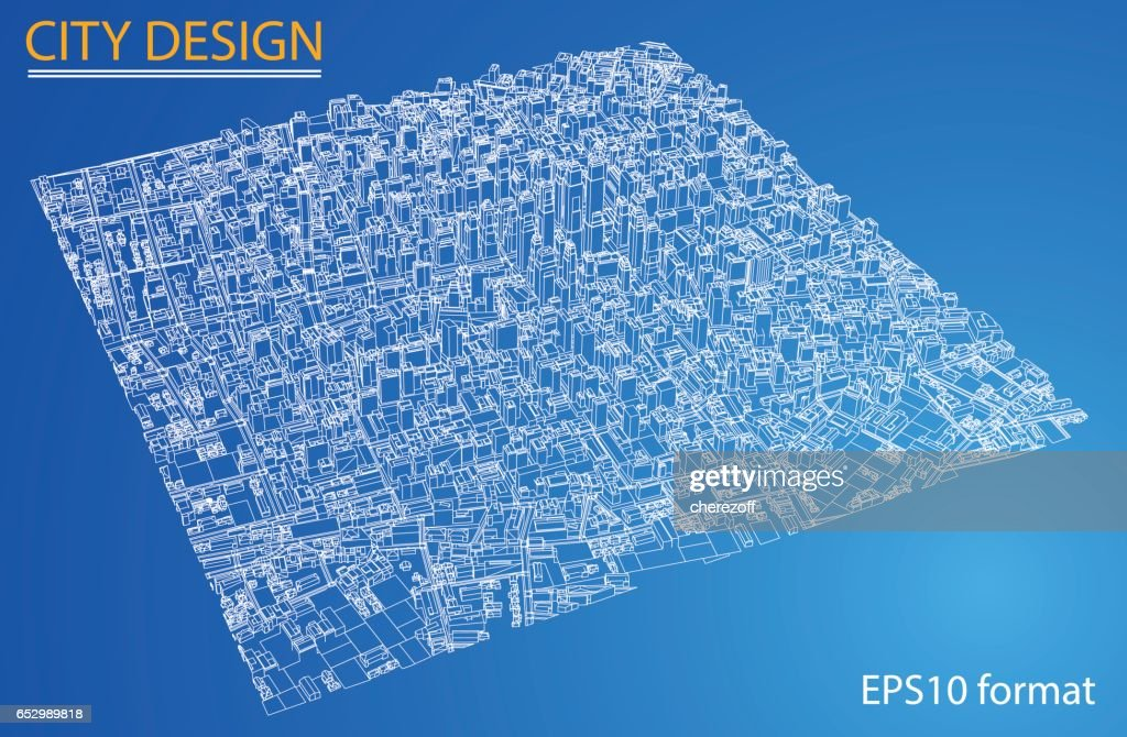 Wireframe city blueprint style 3d rendering vector illustration wire frame city blueprint style 3d rendering vector illustration vector art malvernweather Choice Image