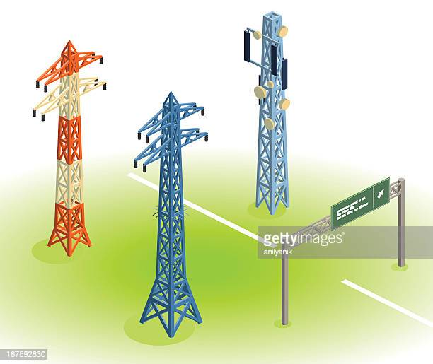 ilustraciones, imágenes clip art, dibujos animados e iconos de stock de soporte construcciones - torres de telecomunicaciones