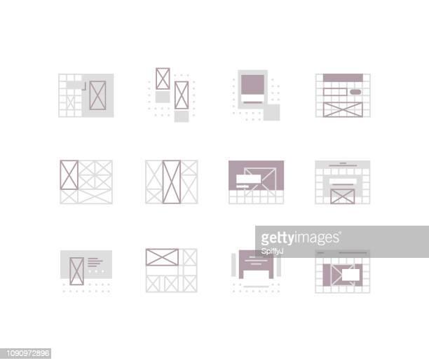 stockillustraties, clipart, cartoons en iconen met wireframe flat pictogrammen - draadmodel