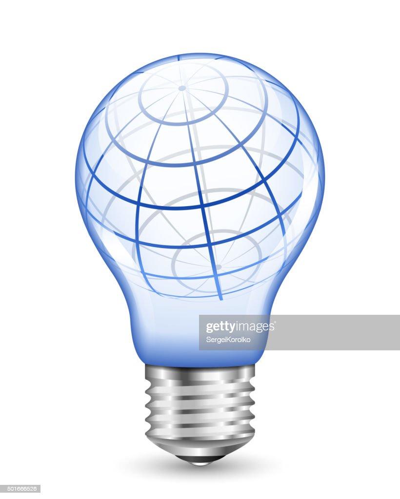 wireframe globe inside light bulb vector art getty images