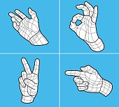 Wireframe hand gestures