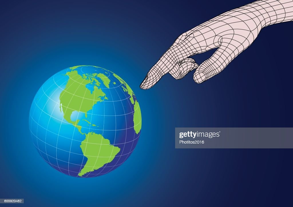Wireframe human hand pointing to planet earth