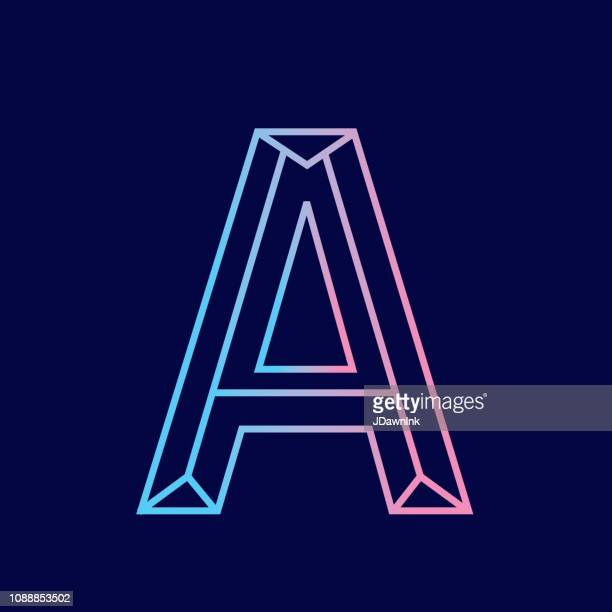 wireframe letter a outline bevelled 3d alphabet design - letter a stock illustrations