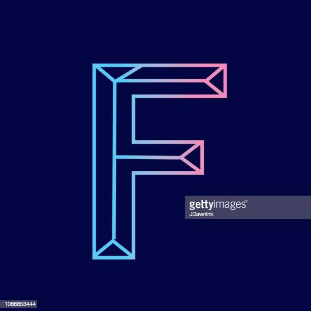 stockillustraties, clipart, cartoons en iconen met wireframe letter f overzicht vellingkanten 3d alfabet ontwerp - group f