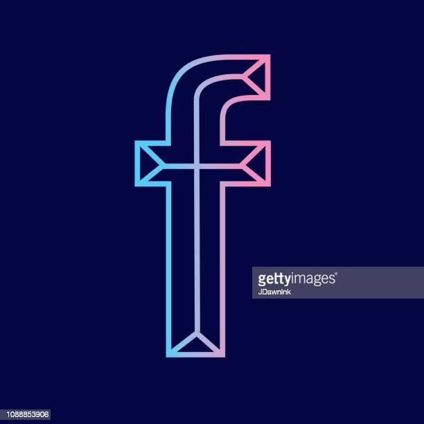 ilustrações de stock, clip art, desenhos animados e ícones de wireframe letter f outline bevelled 3d alphabet design - group f