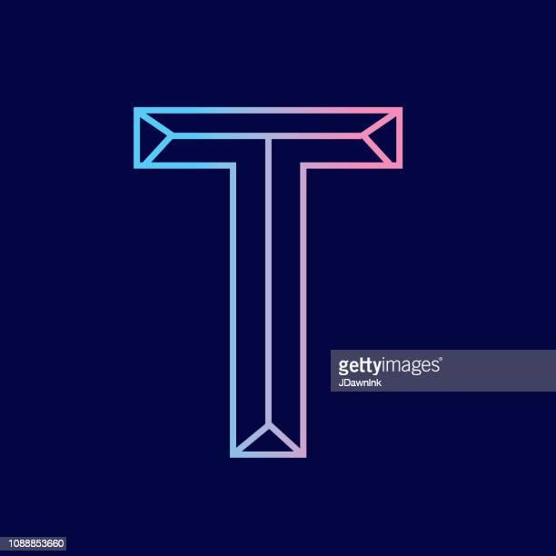 ilustrações de stock, clip art, desenhos animados e ícones de wireframe letter t outline bevelled 3d alphabet design - letra t