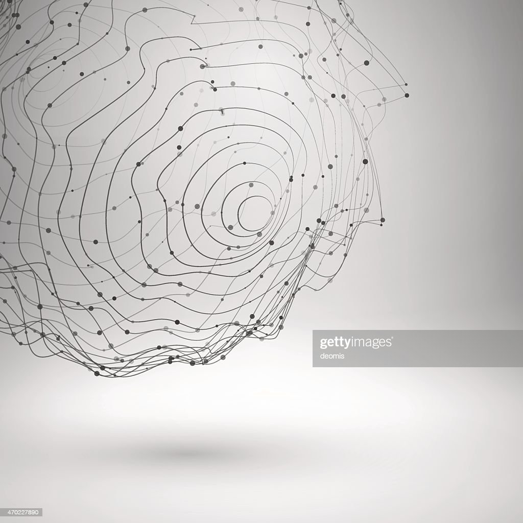 Wireframe mesh element. Abstract form connected lines and dots