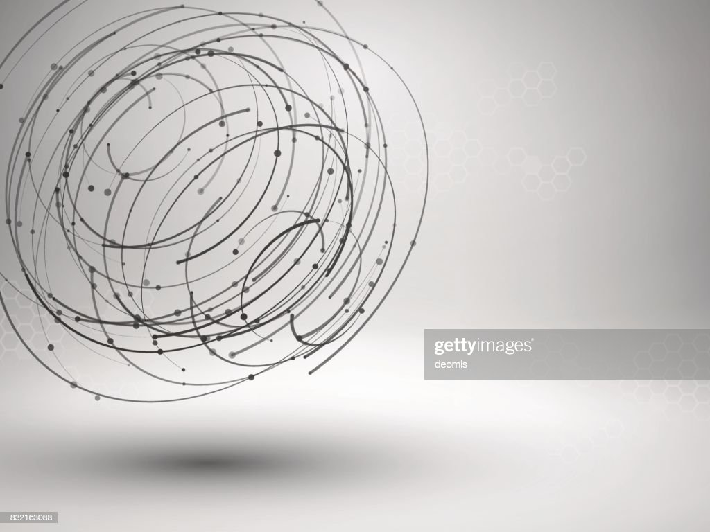Line The Art Element : Wireframe mesh element abstract swirl form with connected lines and