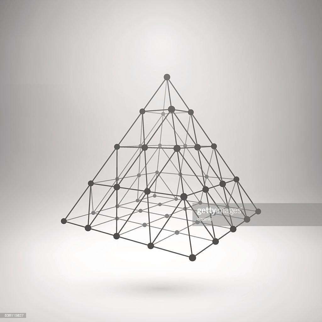 Wireframe mesh polygonal pyramid
