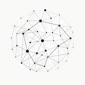 Wireframe mesh polygonal sphere. Network line, design sphere, dot and structure illustration