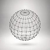 Wireframe mesh polygonal sphere on grey background
