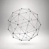 Wireframe mesh polygonal sphere