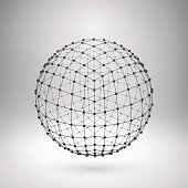 Wireframe mesh sphere with polygonal elements