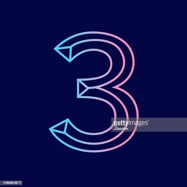 ワイヤーの数 3 斜め 3 d アルファベット デザイン - 数字の3点のイラスト素材/クリップアート素材/マンガ素材/アイコン素材