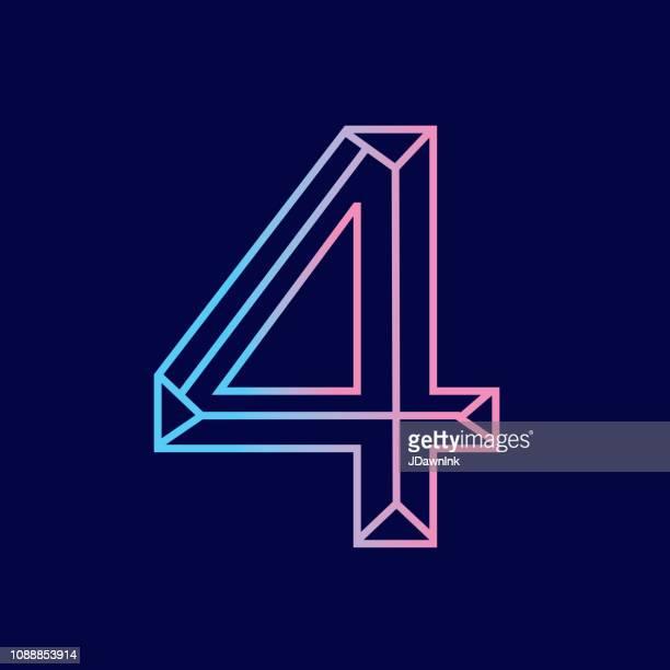 illustrazioni stock, clip art, cartoni animati e icone di tendenza di wireframe number 4 outline bevelled 3d alphabet design - numero 4