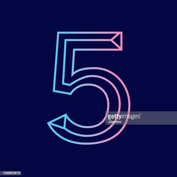 wireframe number 5 outline bevelled 3d alphabet design - number stock illustrations