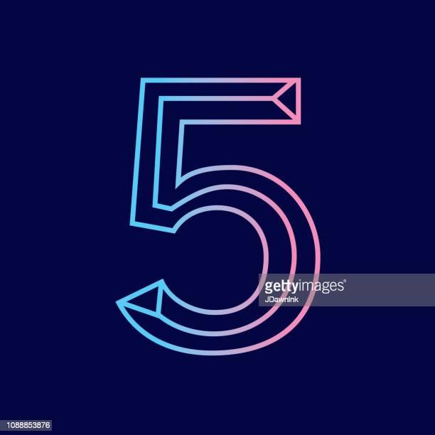 wireframe nummer 5 gliederung abgeschrägt 3d alphabet design - zahl stock-grafiken, -clipart, -cartoons und -symbole