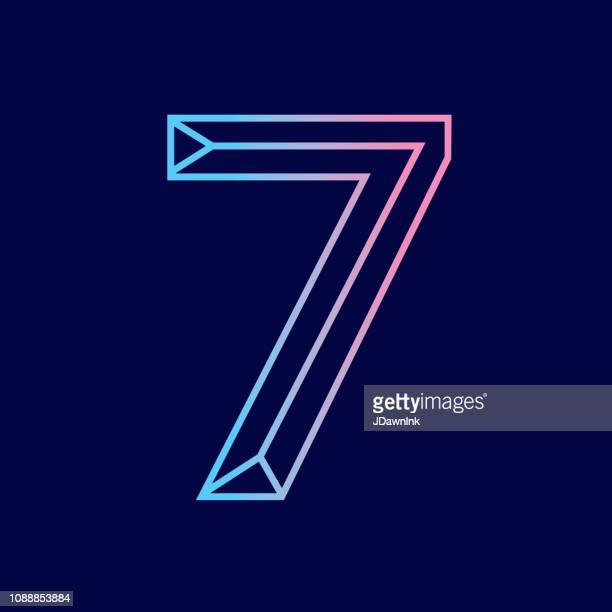 7 番ワイヤー斜め 3 d アルファベット デザイン - 数字の7点のイラスト素材/クリップアート素材/マンガ素材/アイコン素材