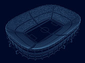 Wireframe of the stadium. Isometric view. Stadium of blue lines on a dark background. 3D. Vector illustration