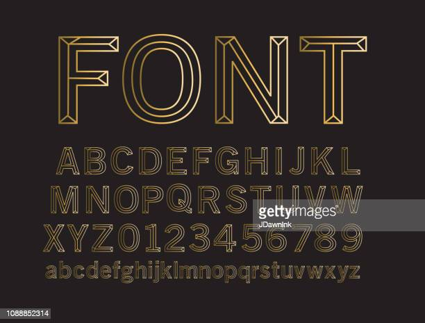 wireframe outline bevelled 3d alphabet design set - metal stock illustrations