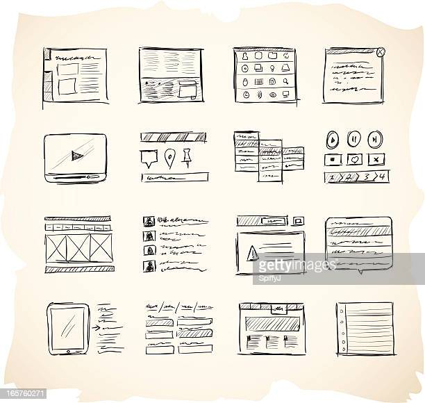 wireframing icons 2 - sketch stock illustrations