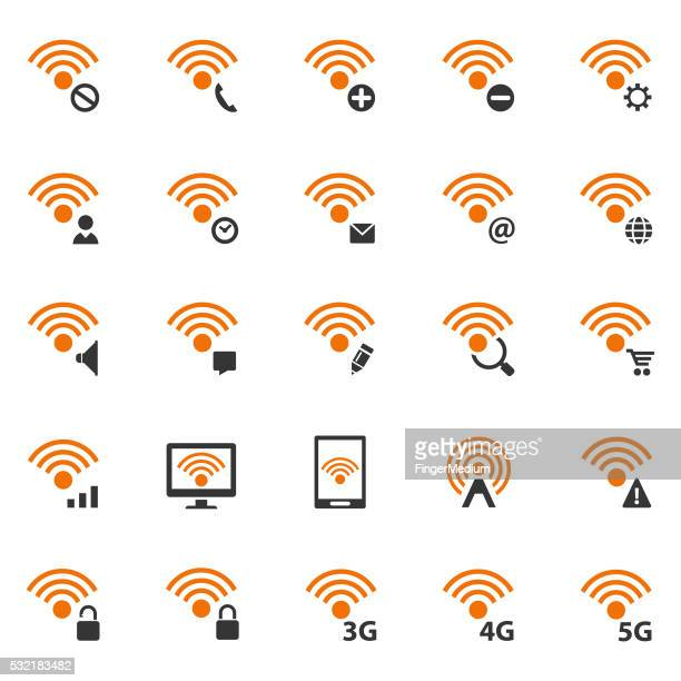 wireless and wifi icon set - video editing stock illustrations, clip art, cartoons, & icons