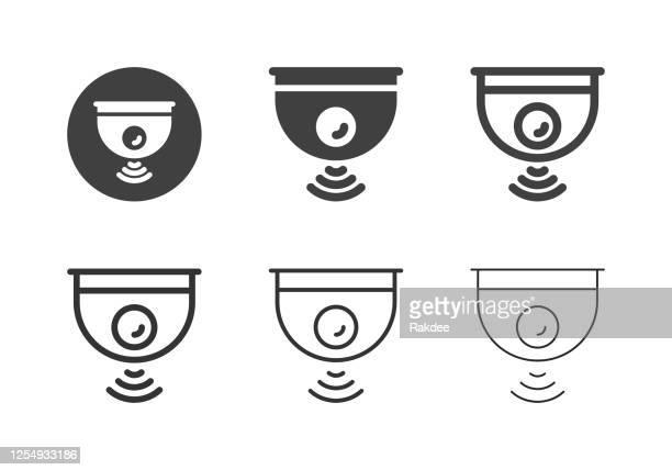 illustrazioni stock, clip art, cartoni animati e icone di tendenza di icone della fotocamera wireless - serie multi - sensore