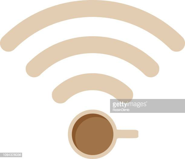 wireless coffee mug icon - coffee break stock illustrations