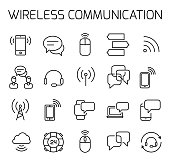 Wireless communication related vector icon set.