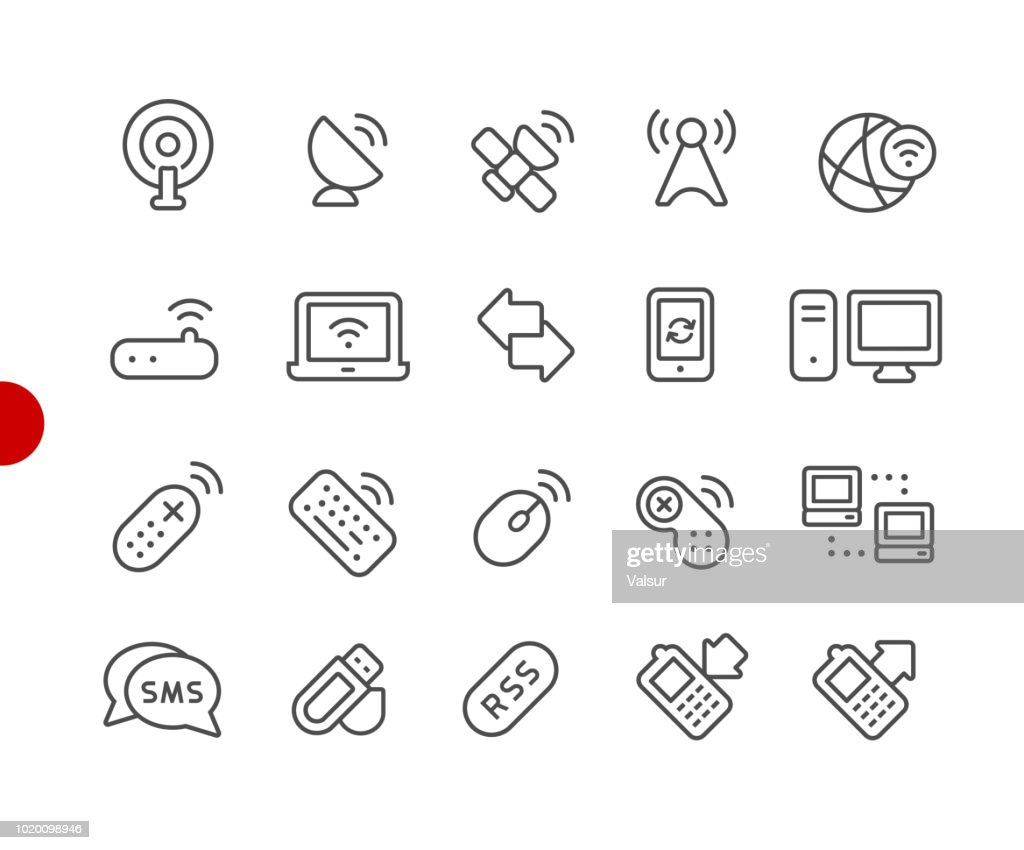 Wireless Communications Icons // Red Point Series