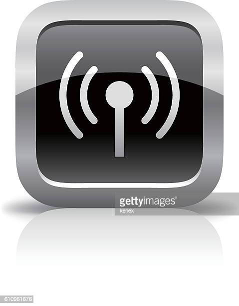 wireless glossy button icon - podcasting stock illustrations, clip art, cartoons, & icons