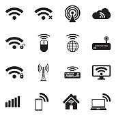 Wireless Icons. Black Flat Design. Vector Illustration.