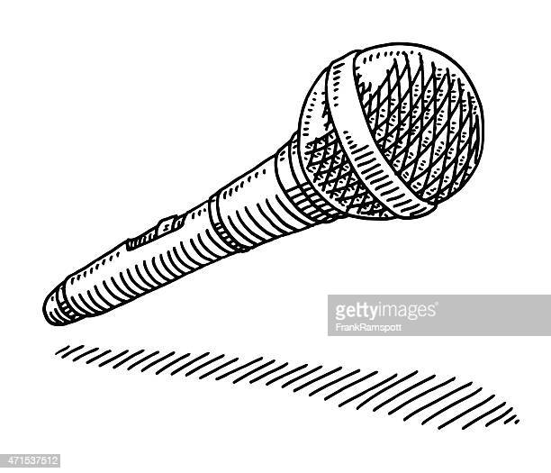 wireless microphone drawing - microphone stock illustrations