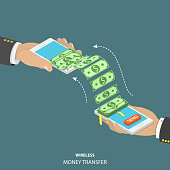 Wireless money transfer isometric vector illustration.