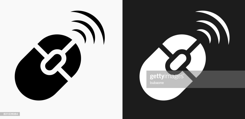 Wireless Mouse Icon On Black And White Vector Backgrounds Vector Art ...