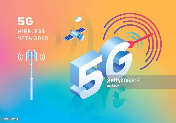 ilustraciones, imágenes clip art, dibujos animados e iconos de stock de red inalámbrica 5g - torres de telecomunicaciones
