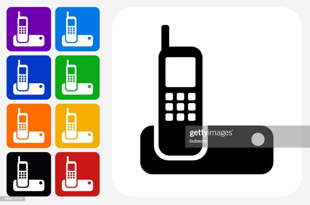 Wireless Phone Symbol Square Buttonset Vektorgrafik   Getty Images