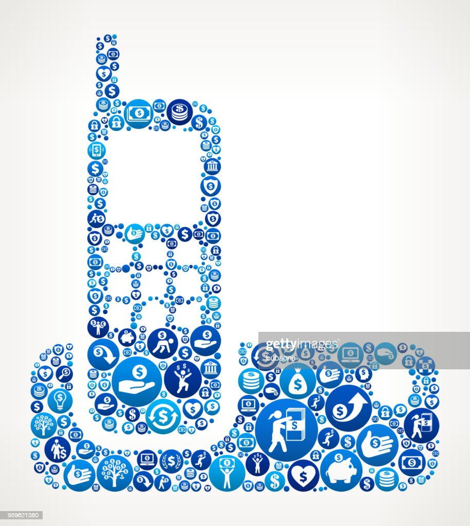 Schnurloses Telefon Geld blaues Symbol Muster Hintergrund : Stock-Illustration