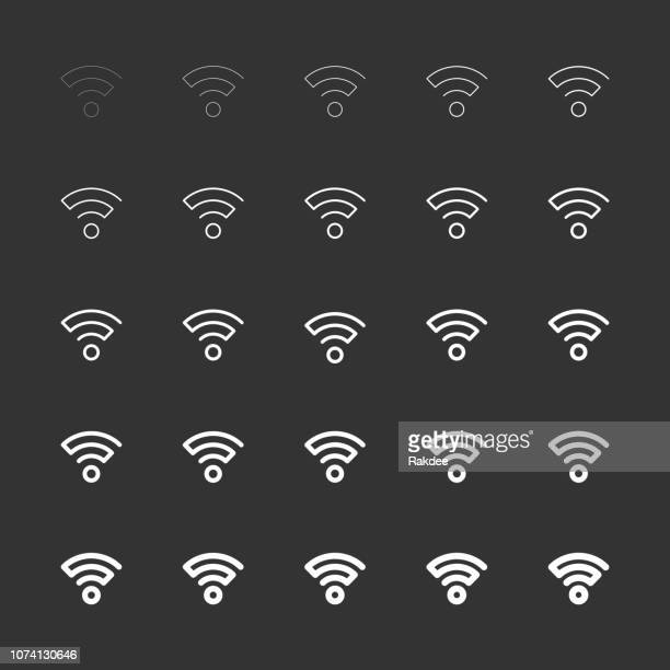 wireless signal icon - white multi line series - podcasting stock illustrations, clip art, cartoons, & icons