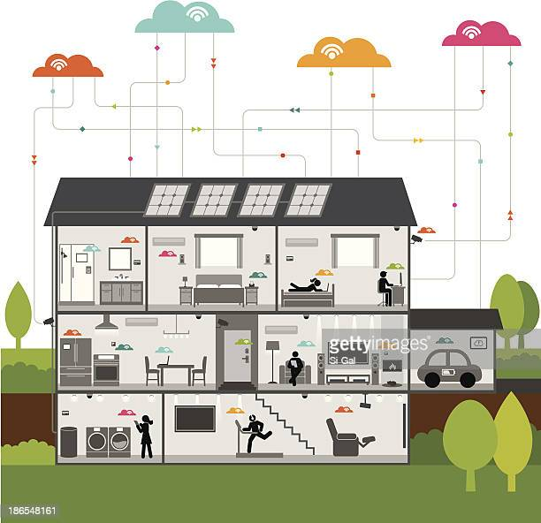 wireless smart technology house - house interior stock illustrations, clip art, cartoons, & icons