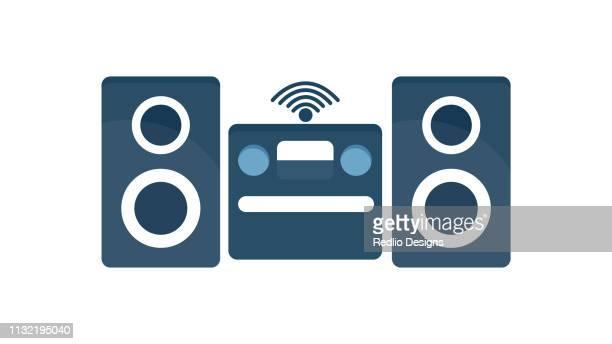 illustrazioni stock, clip art, cartoni animati e icone di tendenza di sistema audio wireless, icona dell'altoparlante - hi fi